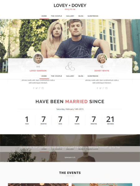 loveydovey 20 Stunning WordPress Wedding Themes for 2017