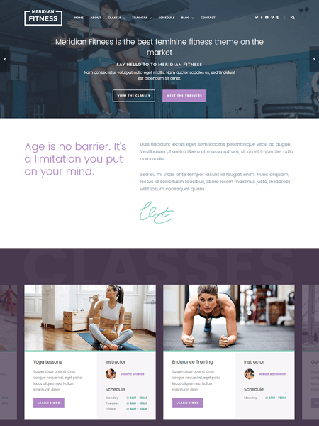 meridian-fitness 22 of the best Yoga & Fitness WordPress Themes for 2017
