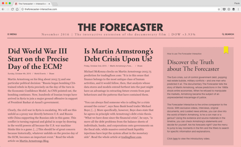 The-Forecaster-—-Interactive-The-interactive-extension-of-the-documentary-film-2016-11-27-15-33-36 25 Creative Designs of WordPress Websites