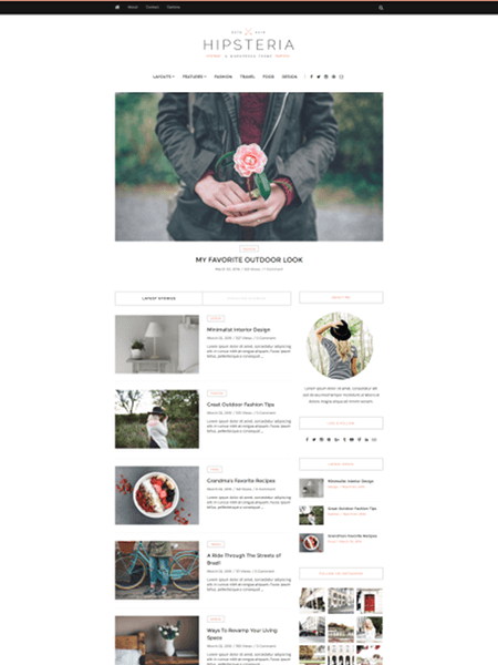 hipsteria 18 Best Minimalist WordPress Themes For Business, Portfolio, and Blogs