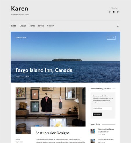 karen 8 Best Clean WordPress Themes For Blogging & Personal Websites