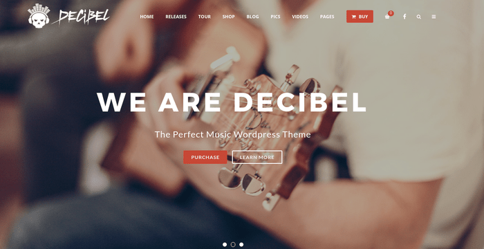 Decibel 13 of the Beautiful WordPress Themes for Musicians & Artists