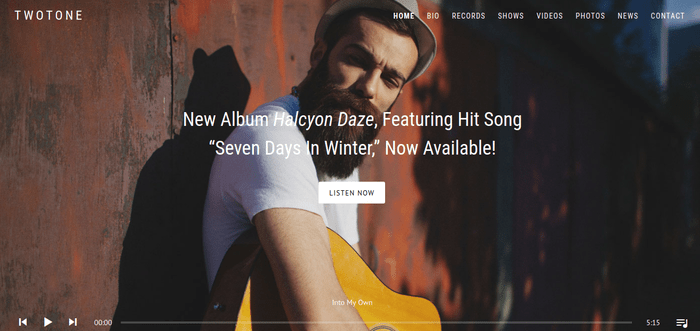 Twotone 13 of the Beautiful WordPress Themes for Musicians & Artists