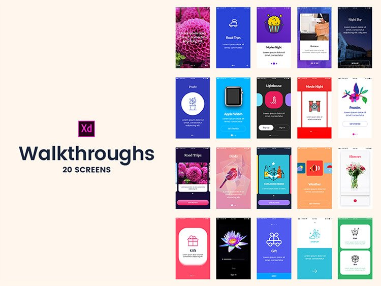 02-adobexd-walkthrough-screens 22 Incredible Adobe XD Freebies For UI Designers