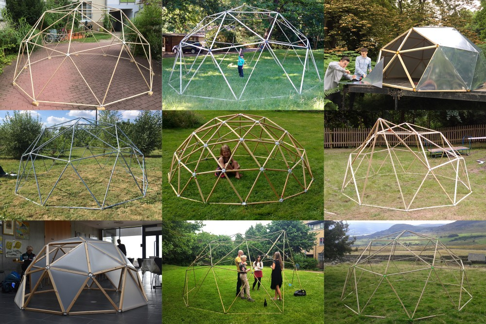 2v geodesic dome kit creates an outdoor structure
