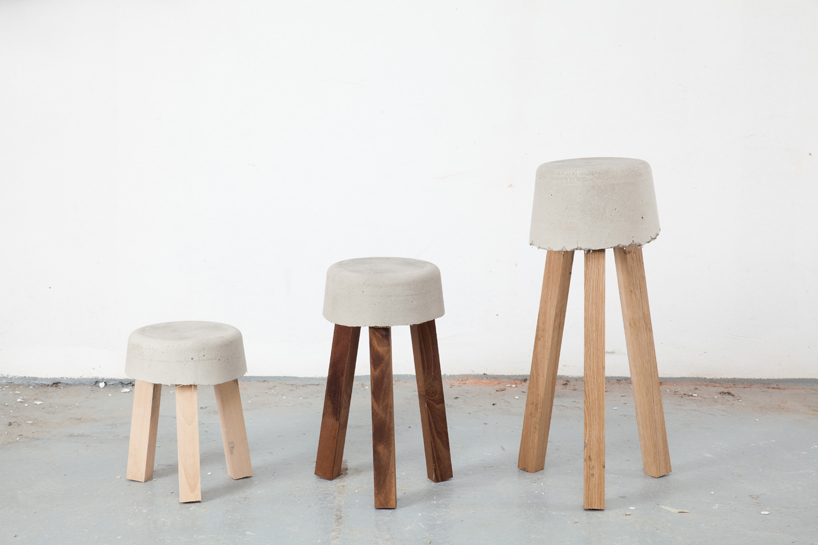 concrete stools made using leftover offcuts by klemens