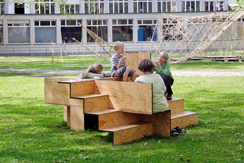 Wooden Stair Public Furniture By Sebastian Marbacher