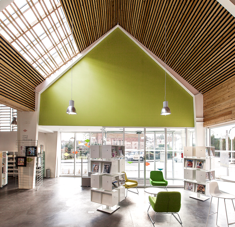 Bplusb Architectures Adds Gable Roof To Dainville Library