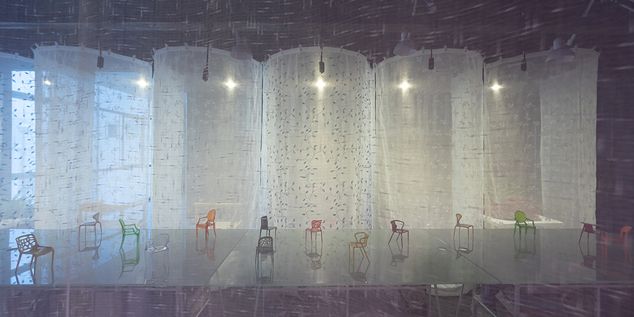 atelier thoA drapes gammas office space with translucent