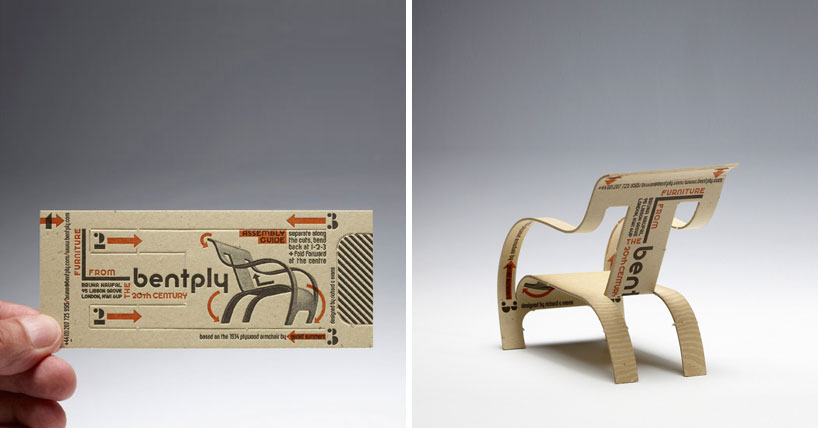 Bentply Business Card Transforms Into Chair By Richard C