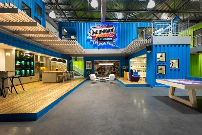 ken blocks hoonigan racing division shipping container headquarters
