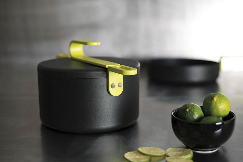 colorful kitchen accessories quartz countertops karim rashid: hook cookware collection for tvs
