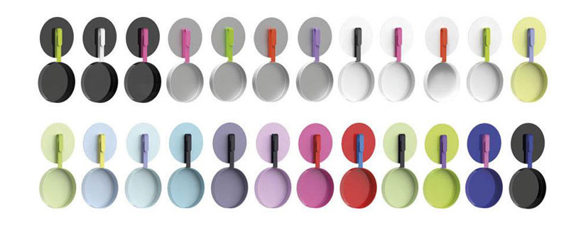 colorful kitchen accessories cabinet molding karim rashid: hook cookware collection for tvs