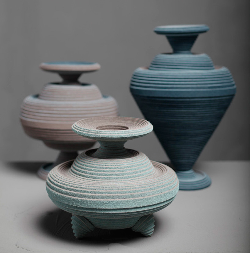 vessels made from felt coiled on a potters wheel by siba