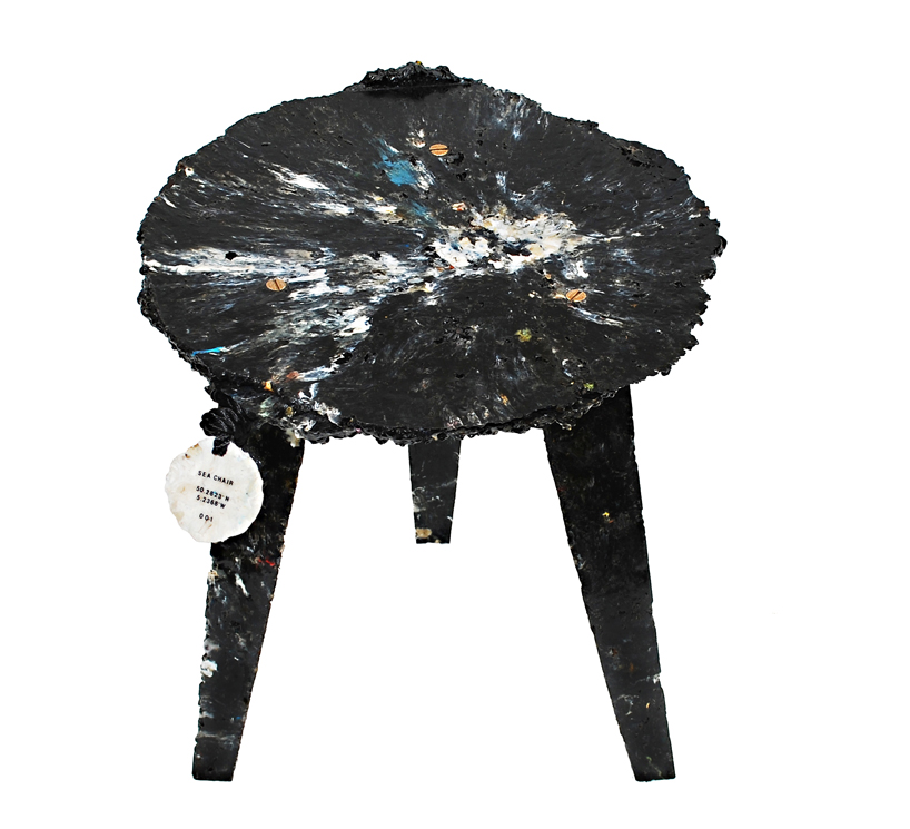 chair japanese design country song rocking sea made from plastic debris found on the beach by studio swine