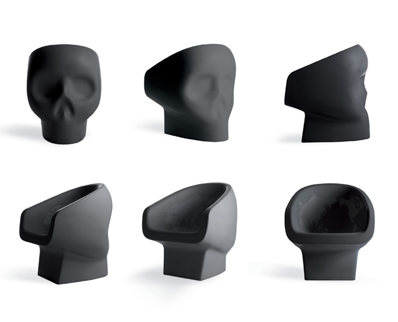 skull chair ostrich 3 in 1 beach fabio novembre: skull-shaped jolly roger armchair for gufram