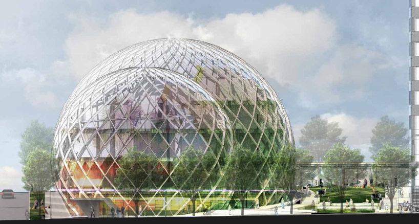 nbbj adds glass biospheres to amazon headquarters proposal