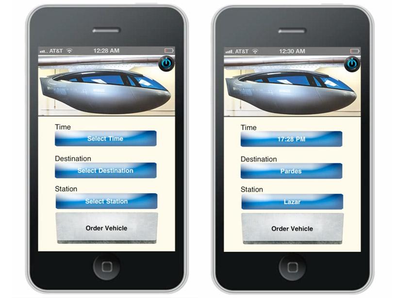 skytran pods are reserved via smartphone app