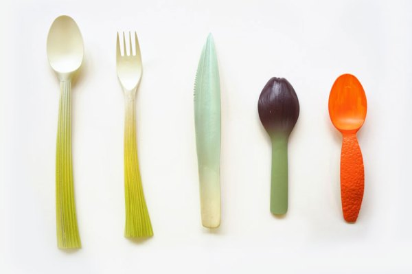 biodegradable tableware influenced by fruits and vegetables