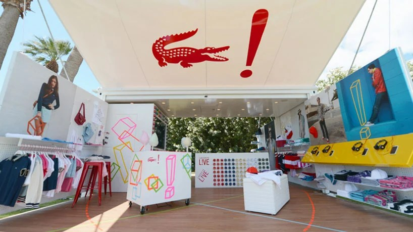 lacoste LIVE shipping container pop-up shop at coachella