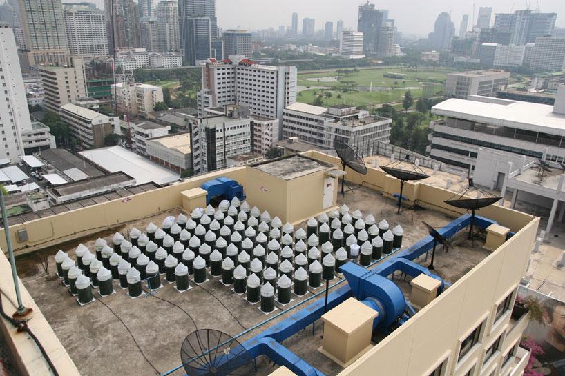 urban farming of edible algae on bangkok skyscraper rooftops
