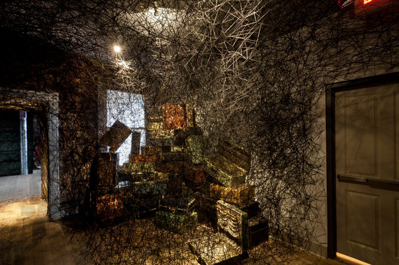 chiharu shiota thread wraps the mattress factory