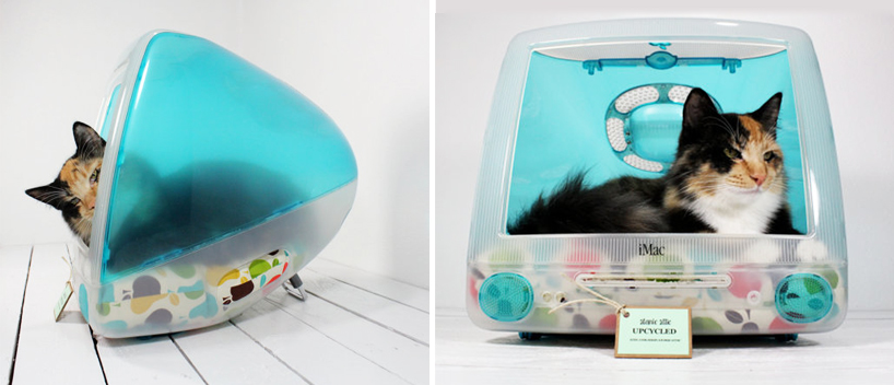 upcycled imac computer turned pet bed by atomic attic