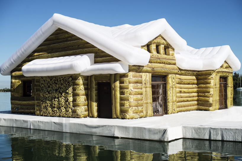 inflatable snow chalet by kolkoz floats in miamis