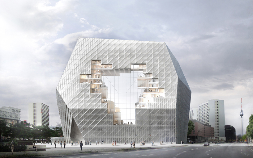 ole scheeren proposes collaborative cloud for axel springer HQ