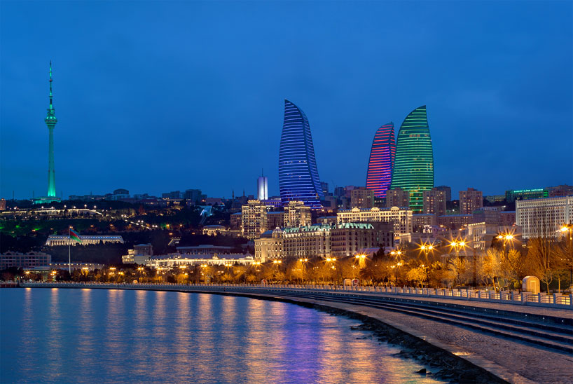 Flame Towers By HOK Illuminate Bakus Historic Waterfront