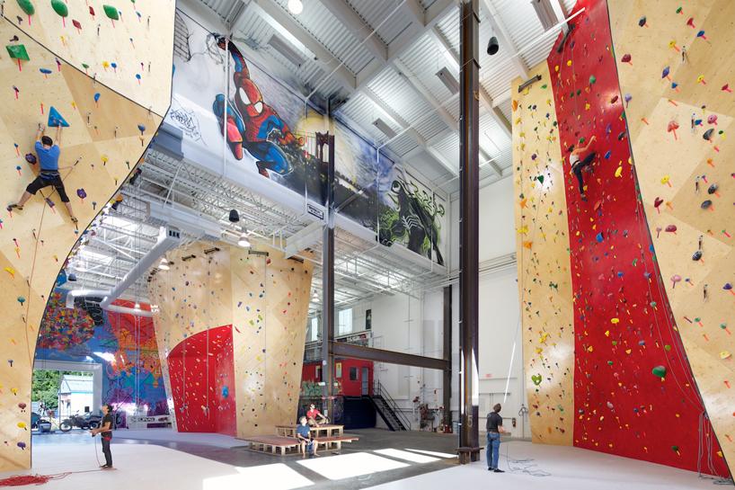 brooklyn boulders coworking space features towering rock