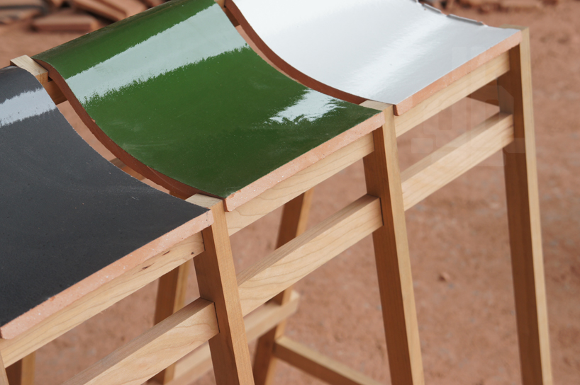 bar stools and benches by tsuyoshi hayashi are built with