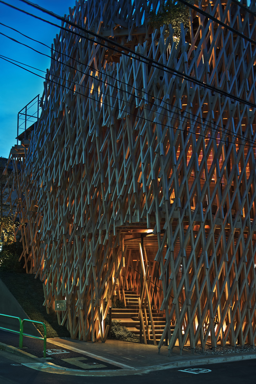 kengo kuma weaves wooden lattice into sunny hills dessert shop