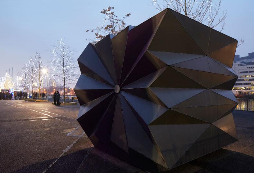 make architects folds prefabricated origami kiosks designboom
