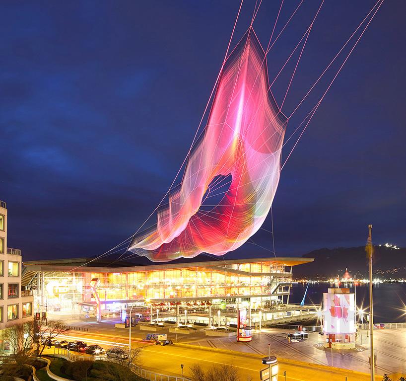 janet echelman and google weave an interactive sculpture