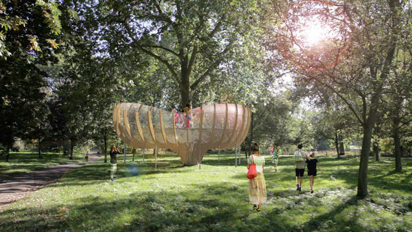 sculptural treehouses form invisible city by shuster moseley