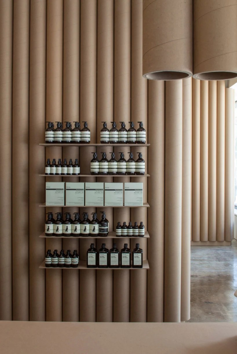 brooks  scarpa line interior of aesop DTLA shop with