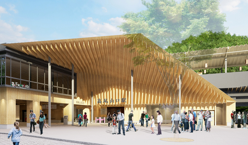 kengo kuma plans keio takaosanguchi station for tokyo