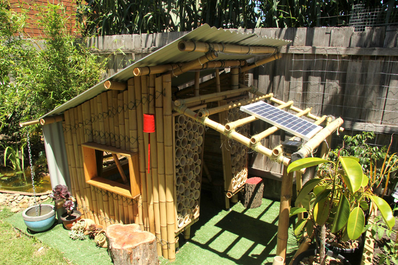 Giant Grass Builds Bamboo Cubby House From Recycled Materials