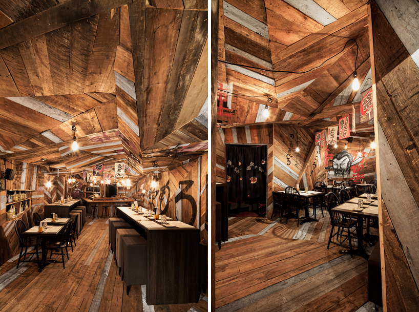 Jean De Lessard Fits Japanese Restaurant With Recycled Timber