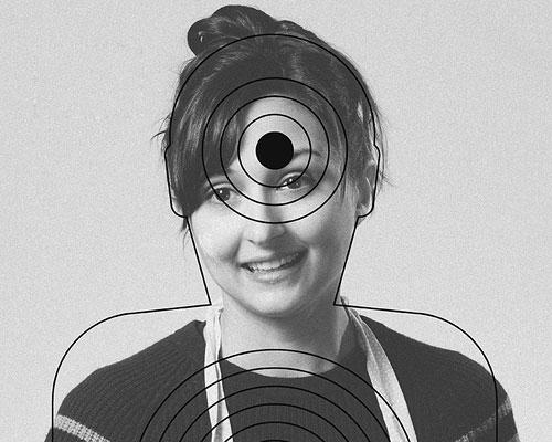 shooting range posters depict the innocent targets of gun