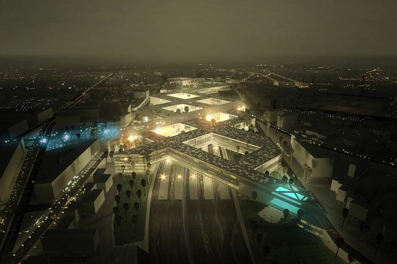 mecanoo elevates intertwined bridges for moroccan station
