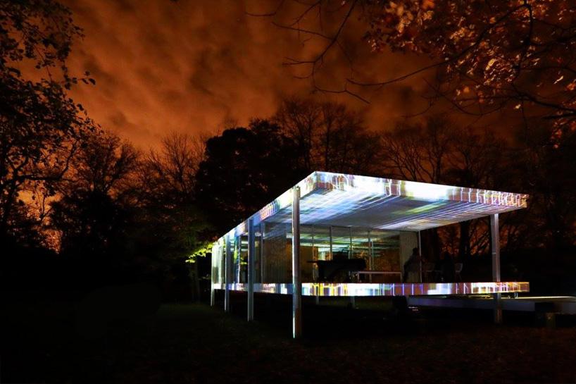 luftwerk projects a kaleidoscope of light onto mies