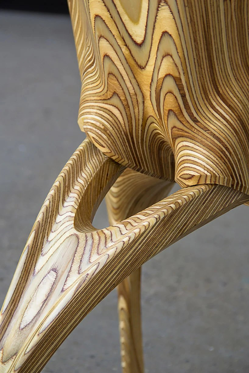 ammar kalo exposes the stratum of swiveling plywood chair