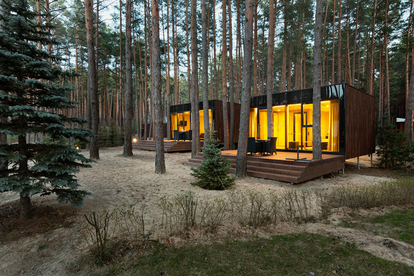 YOD design lab sets timber guest houses amid ukrainian forest
