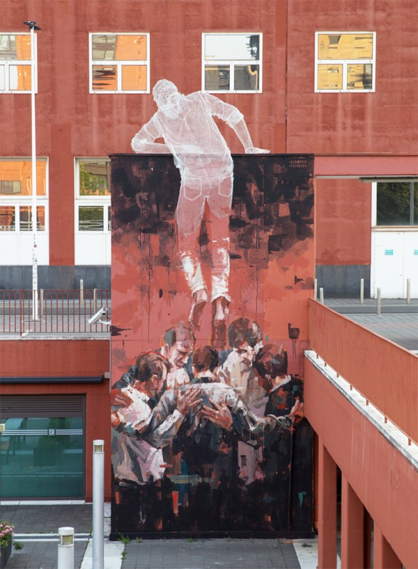 Mixed Media Street Art Sculpture Climbs Universit Bicocca