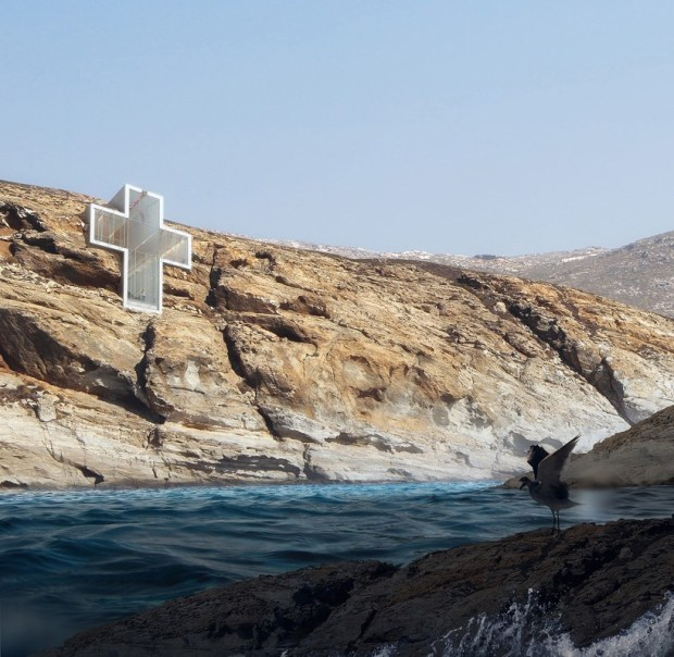 OPA unveils conceptual holy cross chapel with single façade facing aegean sea