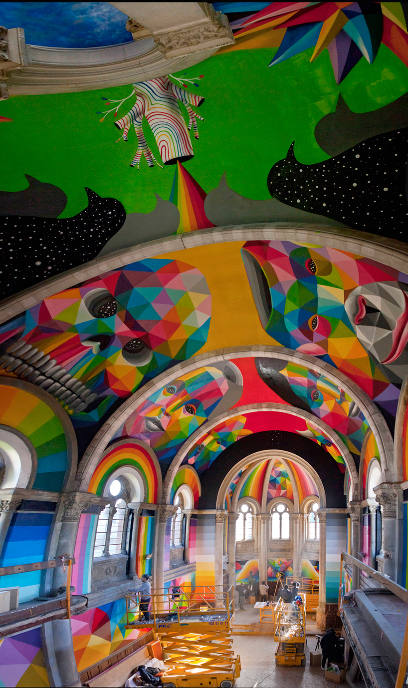 Okuda San Miguel Paints Colorful Mural Within Converted