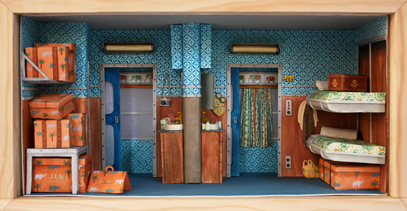 mar cerd makes miniature paper movie sets of wes anderson