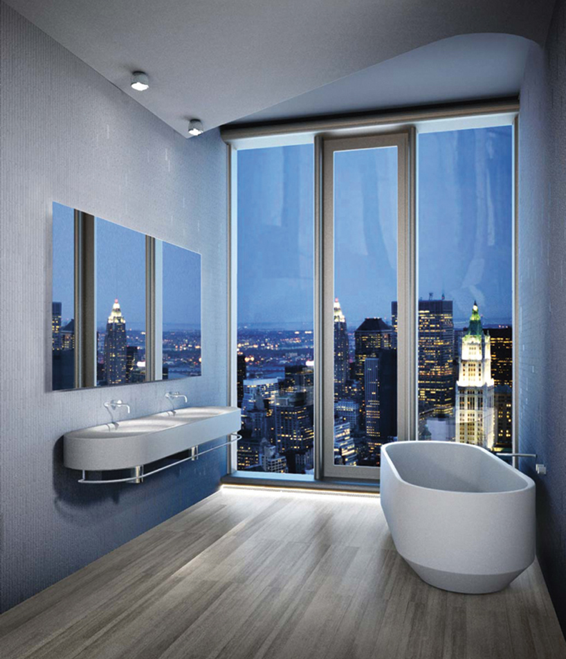 herzog  de meurons bespoke bathrooms by LAUFEN for 56 leonard tower in new york